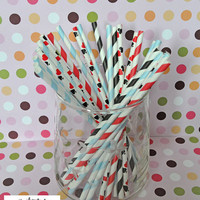 25 Alice in Wonderland Paper Straws Party Straws and Coordinating DIY Straw Flag PDF