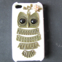white case pink flower Antique Brass Cute Owl