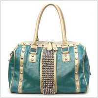 Simulated Leather Elegant Studded Satchel (Teal)