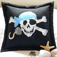 Bandana Pirate pillow 20 blue green orange Jolly by crabbychris