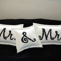 Mr & Mrs pillows wedding bridal shower bride groom by crabbychris