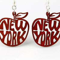 New York The Big Apple Wood Earrings by GreenTreeJewelry on Etsy