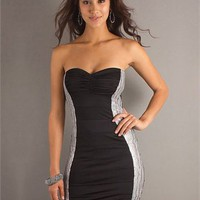 Sweetheart Slim-line open back black and white Mini with decorated side Prom Dress PD0308