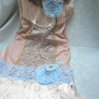 FLAPPER Great Gatsby 1920s Jazz Age Roaring 20s Speakeasy  - Vintage Slip Make Over - Taupe and Blue Ice