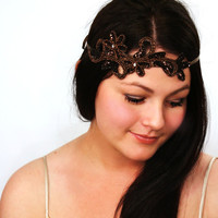 Beaded Headband, Ribbon, Bronze, brown, beaded and sequin headband, halo, crown, hair accessory - Iron and Wine - Bronze Hairpiece