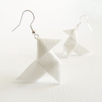 Off white origami earrings Lurex and silk OOAK by Jye, Hand-made in France