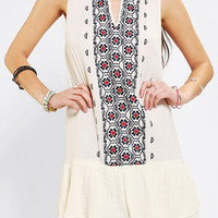 Staring At Stars Embroidered Gauze Drop-Waist Dress