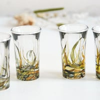 ready to ship - Set of 4 hand painted shot glasses - Grass Fields Collection