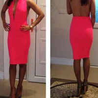 neon hlaterneck backless dress