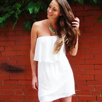 White Strapless Dress with Ruffle Overlay Top Detail