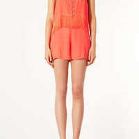 Tangerine Fringe Playsuit - Beach Cover Ups - Swimwear  - Clothing