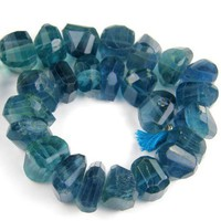 Natural Blue Fluorite Faceted Fancy Gemstone Nugget 12 to14mm | Covergirlbeads - Jewelry Supplies on ArtFire