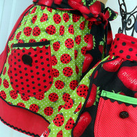 Mother Daughter Aprons Matching Half Apron Set in LadyBugs and Strawberries