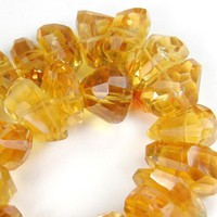 Rich Yellow Citrine Quartz Faceted Fancy Gemstone Nugget 11mm to 14mm | Covergirlbeads - Jewelry Supplies on ArtFire