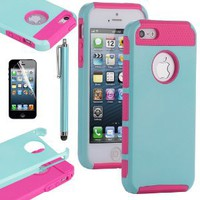 Amazon.com: Pandamimi ULAK Aqua Blue & Rose Pink Fashion Sweety Girls TPU + PC 2-Piece Style Soft Hard Case Cover for iPhone 5 5G with Free Screen Protector and Stylus: Cell Phones & Accessories