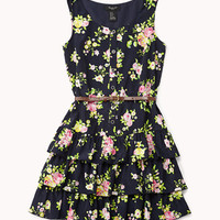 Tiered Floral Print Dress w/ Faux Leather Belt | FOREVER 21 - 2048995351