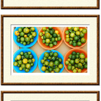 PRINTABLE food photos set of 3 digital images limes tomatoes kitchen art foodie