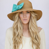 Floppy CLOCHE Sunhat with Mint Bow Sun Hat Milliner Derby Women's Fashion Beach Cap Summer Shade Hat Oversized Brim Cloche