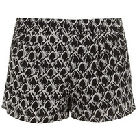 Black printed chiffon shorts