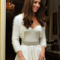 Ready to be Shipped HANDMADE Ivory Kate Middleton Angora Shrug / Bolero hand knitted /bridal bolero/ fit size SMALL