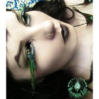 AFlutter - Exotic Peacock Feather Eyelashes w Swarovski Crystals | MoonshineBaby - Bath & Beauty on ArtFire