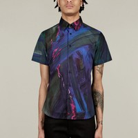 Christopher Kane Men's Green All Over Paint Cotton Shirt