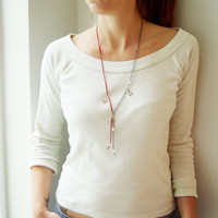 Red and blue lariat necklace, very thin, delicate strands of coral and sodalite with white pearls and sterling silver