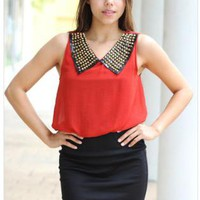 Red and Black Dress with Studded Collar