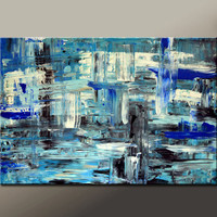 Abstract Canvas Art Painting 36x24 Original Blue Modern Contemporary Paintings by Destiny Womack - dWo - Shifts in the Balance