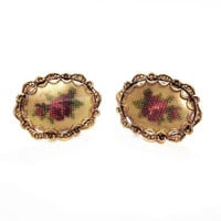 Vintage Needlepoint Rose Flower Clip Earrings