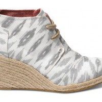 Grey Ikat Women's Sustainable Desert Wedges | TOMS.com