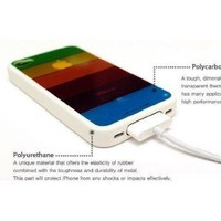 Rainbow Protective Case for iPhone 4/4S - WHITE