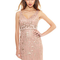 SUE WONG Sandalwood Beaded V-Neck Dress