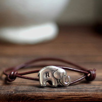 Personalized Bracelet, Wish bracelet , Custom Bracelet, Initial Silver Elephant Genuine Leather Cord, hand stamped bracelet