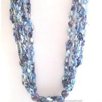 #Crochet Long #Necklace  #Lavender #handmade by MoomettesCrochet
