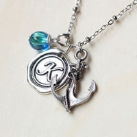 Personalized Initial Anchor Necklace Nautical Necklace Beach Wedding Necklace Resort Jewelry, Personalized anchor Necklace, Graduation Gift,