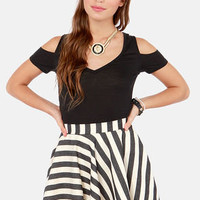 Dizzy Darling Black and Ivory Striped Skirt