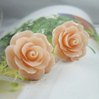 Peach Yellow Rose Bloom Earrings