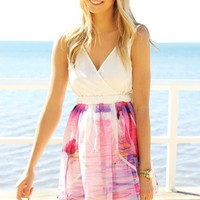 Flamingo Print Sleeveless Dress with With V-neck Top