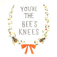 Hand-lettered Typography Art from The Black Apple - The Bee's Knees Print 8x10