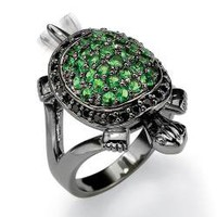 Lillith Star Black Ruthenium Cubic Zirconia and Glass Turtle Ring | Overstock.com