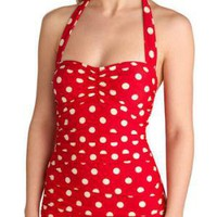 Beach Blanket Bingo One Piece in Red | Mod Retro Vintage Bathing Suits | ModCloth.com