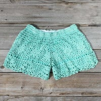 Traveler Crochet Shorts in Mint. Women&#x27;s Sweet Country Clothing