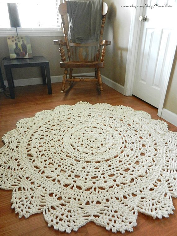 Crocheting A Rug : Giant Crochet Doily Rug, floor, off from EvaVillain on Etsy