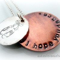Personalized Sterling Silver and Copper Hand Stamped Dance Star Necklace - Copper Chain - Dance Recital Gift