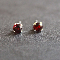 Garnet Studs, Tiny Earrings, Small Studs, Sterling Silver Earrings, Red