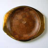 MIDCENTURY DANISH TRAY Vintage Walnut Parquet Gold Tone Steel 2 Piece Bar Serving Tray Set / Tabletop / Entertaining / Serving / Bar