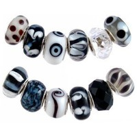 Pandora Style Twelve (12) Piece Charm Bead Set with Murano Style, Lampwork Style and Faceted Glass Style Beads - Fits Pandora, Troll, Biagi and Charmilia - Exact Assortment as Shown (FB99)