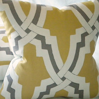 featured Rachel Ray magazine - Linx  Bokara Pillow cover citrus and pewter 18 X 18