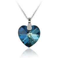 Sterling Silver Bermuda Blue Swarovski Elements Heart Pendant, 18""